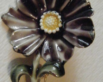 Vintage Signed HAR Ceramic Floral Pin Signed //Collectible Jewelry//Free Shipping
