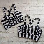 Circus stripe top, Sports bra, crop top, polka dot and stripes bra top