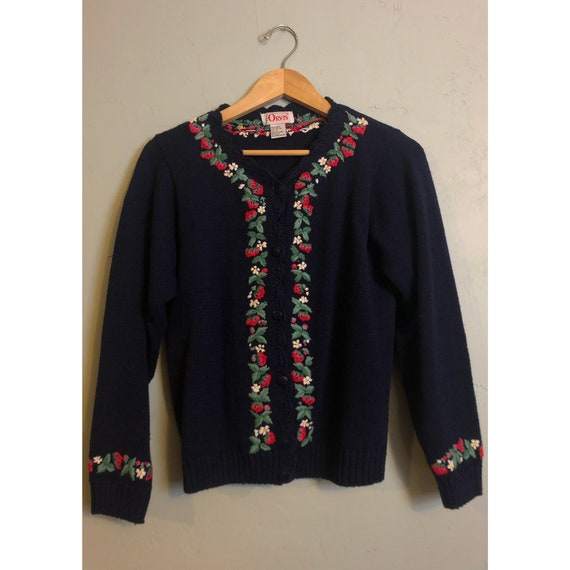 Vintage Woven Strawberry Sweater Cardigan
