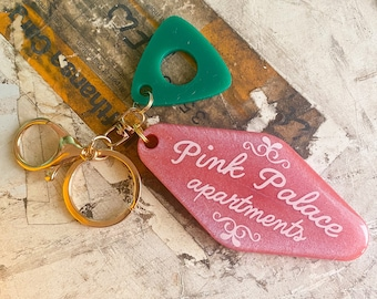 Coraline Pink Palace Apartments Handmade Resin Keychain