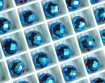 17mm Thunder Polish Crystal Wine AB 2X Faceted Ball Focal Spacer Beads 6pc