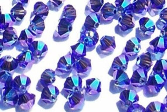 12pc Swarovski Crystal 5mm Purple Velvet Bicone 5328 Beads; Dark Purple