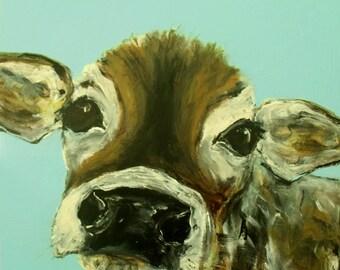 Baby cow Art, Poster Art Print Soft aqua perfect decorating size
