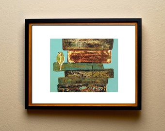 Aqua Cute Bird on Books , Large art print ideal gift for book lover , reader , writer by Laura Sue