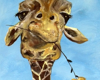 "Giraffe with Flower ""Craig"" funny cute animal for nursery or adults"