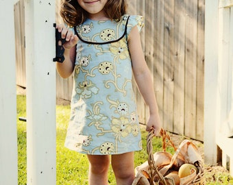 Kate's Dress - 12 mths to 10 yrs - PDF Pattern and Instructions -  A-line, 2 yoke options, lined bodice