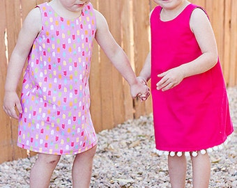 A Line dress - simple, easy sew, lined bodice, w/button and button loop - girls from 12 mths to 8 yrs - PDF Pattern and Instructions