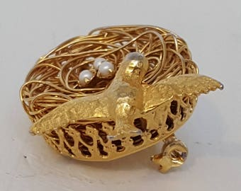 1960s Vintage Bird's Nest Brooch