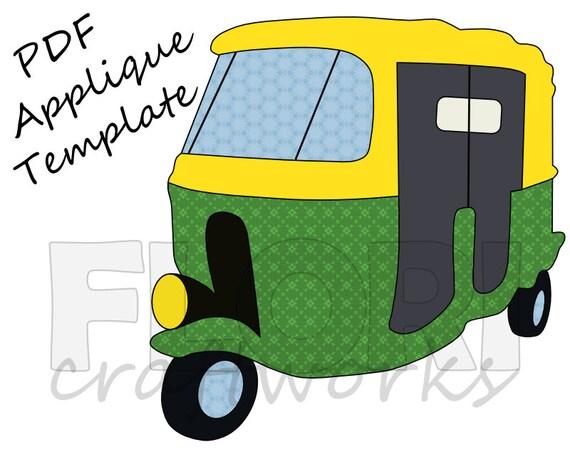 India Auto Rickshaw Pdf Applique Template Pattern Etsy