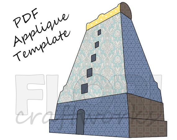 Temple Gate PDF Applique Template Pattern - South Indian Dravidian style  Tower