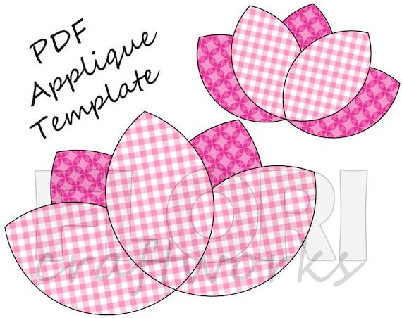Lotus Flower PDF Applique Template Pattern DIY Onesie