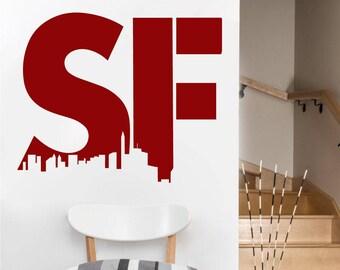 SF San Francisco Wall DECAL- San Francisco urban city interior design, sticker art, room, home and business decor