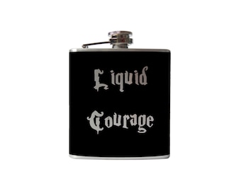 Liquid Courage FLASK- alcohol, liquor, booze, wedding, bridal party, hip- whiskey, Personalized Custom - YOU pick COLOR
