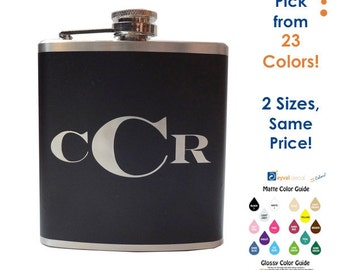Monogrammed Hip Flask- custom, personalized alcohol, liquor, booze, wedding party, bridal party, festival, concert - 6, 8 ounce oz