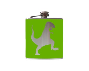 T-Rex Dinosaur FLASK- alcohol, liquor, booze, wedding, bridal party, hip- whiskey, Personalized Custom - YOU pick COLOR