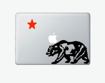 California bear and red star flag laptop DECAL- macbook iPad computer- Gadget Art / Accessory - mountain smart animal Geek Chic perfect gift