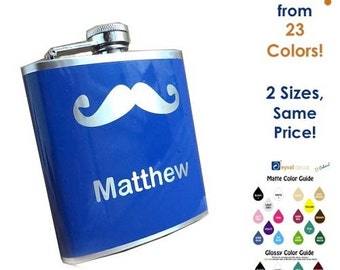 Flask- Mustache w/ Name or Date- CUSTOM, Personalized- alcohol, liquor, booze, wedding party, bridal party, festival, concert -6, 8 ounce oz