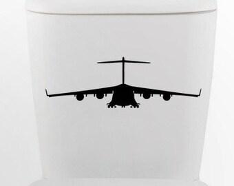Hercules bomber DECAL- millitary jet Home Decor, toilet, Vinyl Wall Art, Shower, Bathroom, Interior Design