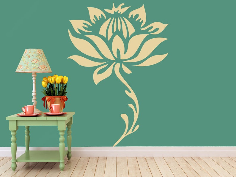 large lotus flower and stem vinyl wall decal art sticker | etsy