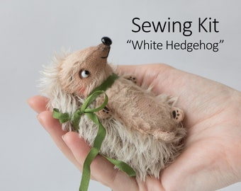 Sewing Kit White Hedgehog 9cm with Tutorial & Pattern