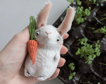 White Bunny Rabbit Miniature Animal with Carrot - 10cm - Personalised