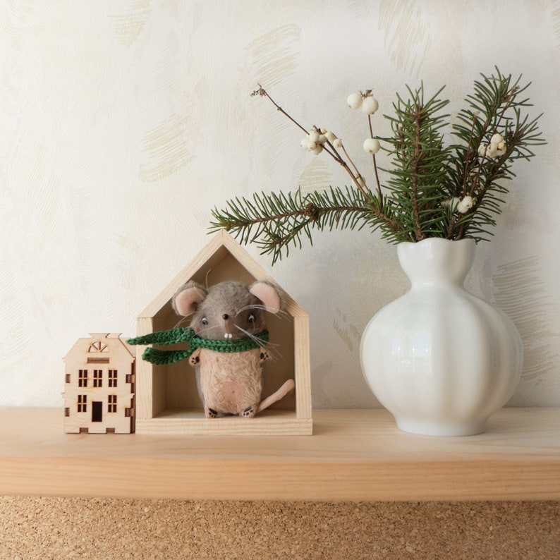 Miniature Mouse Figurine in Wooden House  Home Decor image 0