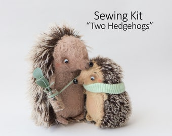 Sewing Kit for Two Hedgehogs 11cm and 9cm - DIY Gift