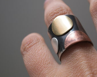 Wide band mixed metal ring, brass copper and  silver for woman