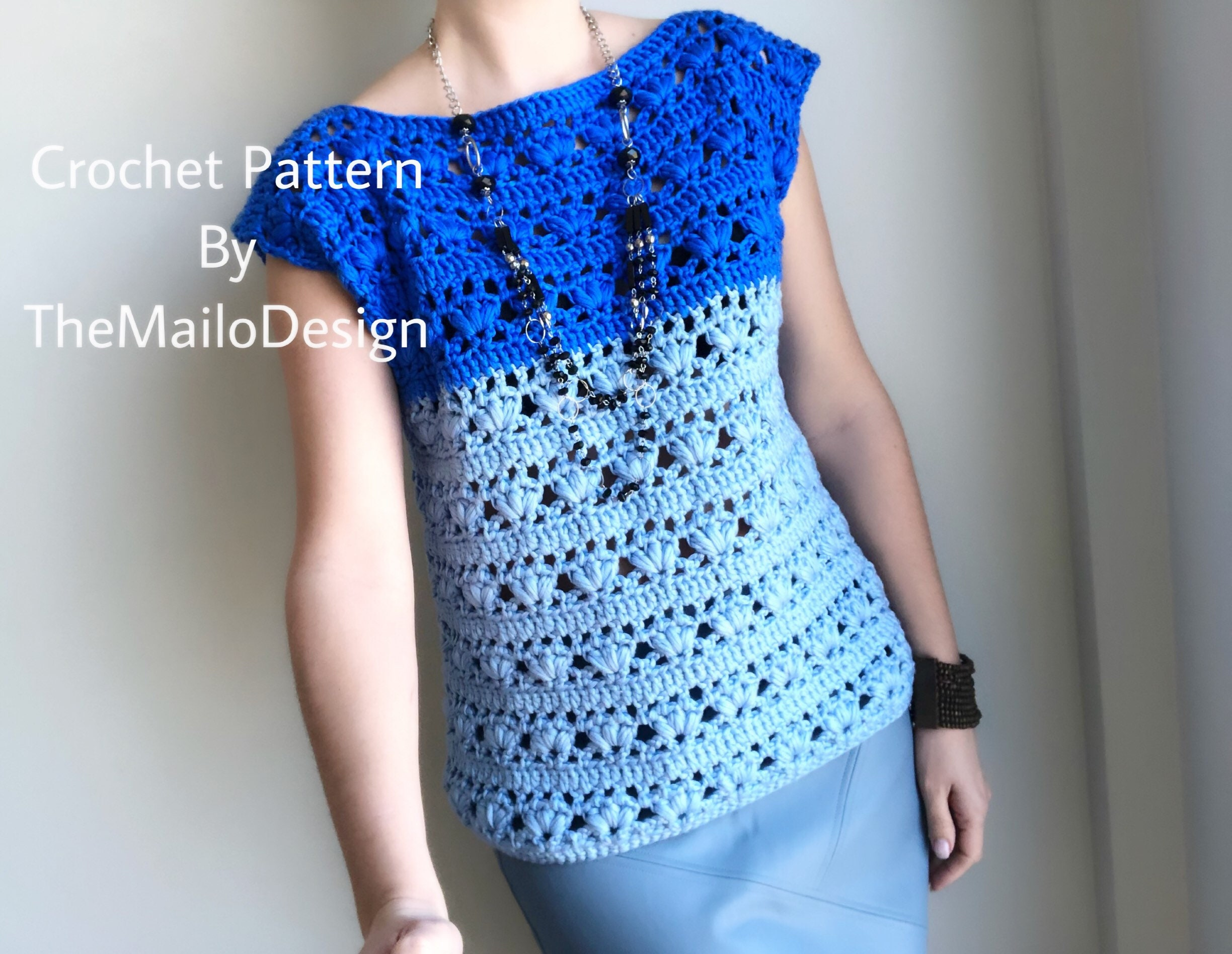 Crochet Top Pattern Sky Top Etsy
