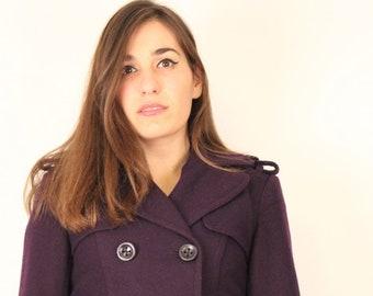 Woollen Purple Pea Coat, Macintosh, Double Breasted Princess Coat, Deep Purple