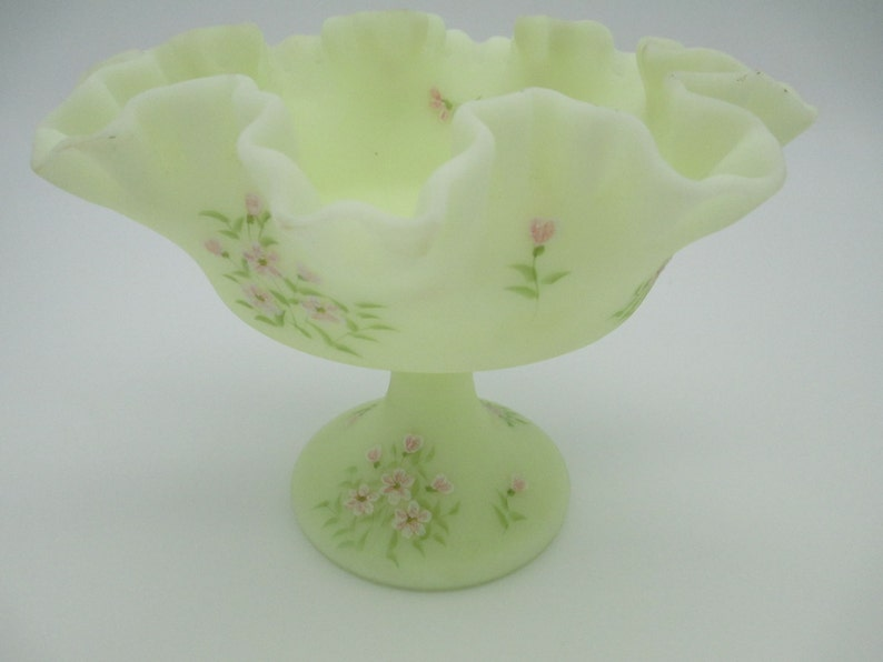 Fenton Compote Hand Painted Signed Pale Mint Green Frosted Ruffled Candy Dish North American