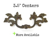 Vintage French Provincial Drawer Pull 3.5 quot centers RARE Style and size 3 1 2 quot on Center - Antique Dark Brass - Outer Top Leaf Version