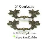 Lot of 2 French Provincial Drawer Pulls 3 quot centers More Available 3 inch centers - Pair antique dark brass, white, black, cream, turquoise