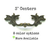French Provincial drawer pulls - 3 quot centers - More Available - 8 color options - Ornate Leafy Dark Brass Furniture Handles Hardware