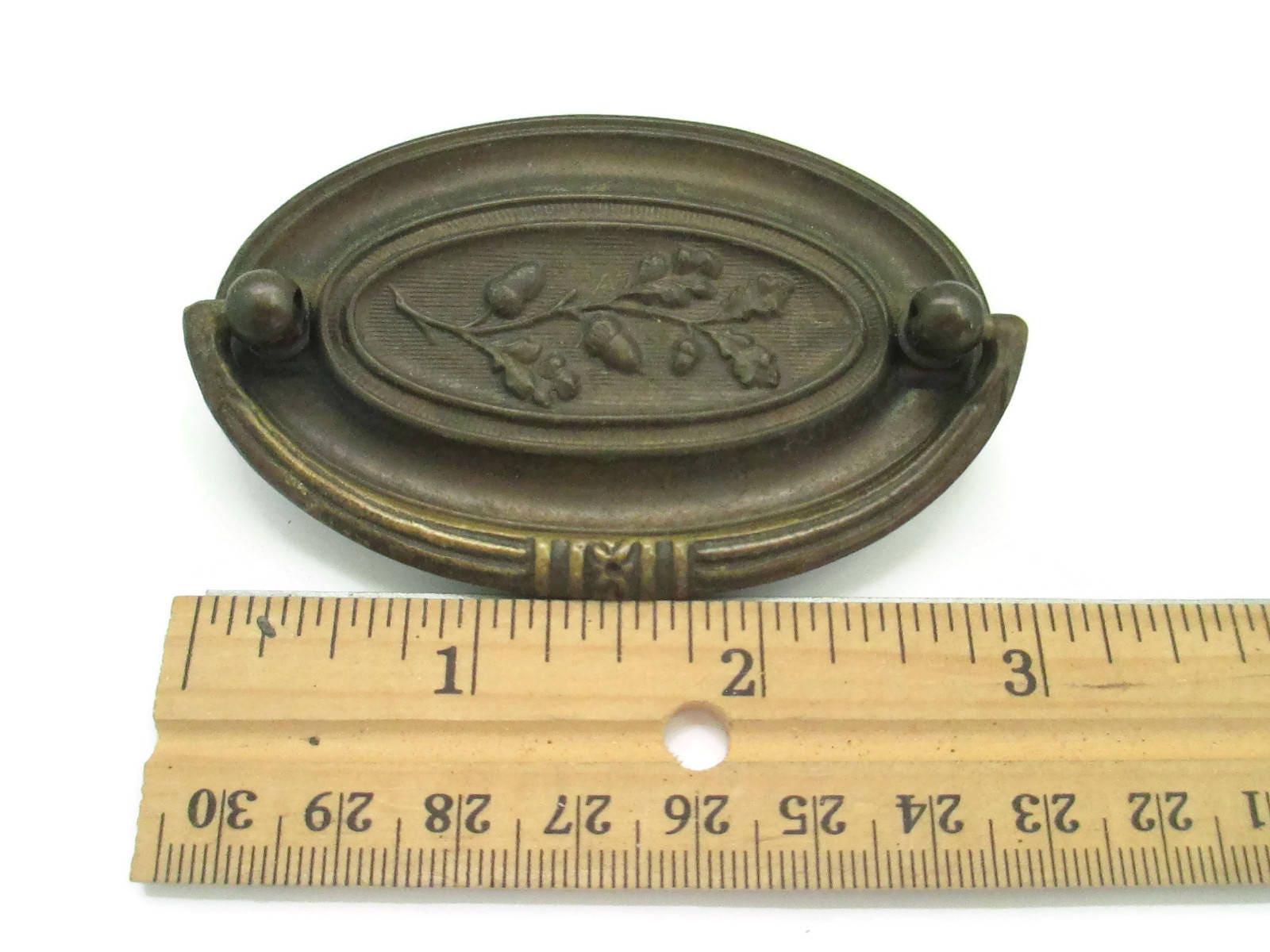 "Vintage Drawer Pulls 2 5"" centers Oval Hepplewhite Acorn motif"