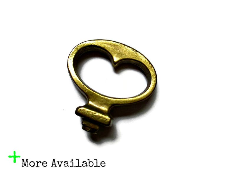 Vintage Faux Key Cabinet Drawer Pull Small Gold Brass Handle Mock Key Door Knob