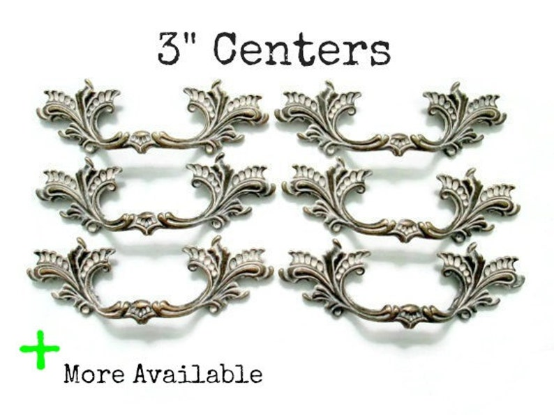 French Provincial Drawer Pulls 3 Centers Set Of 6 Etsy