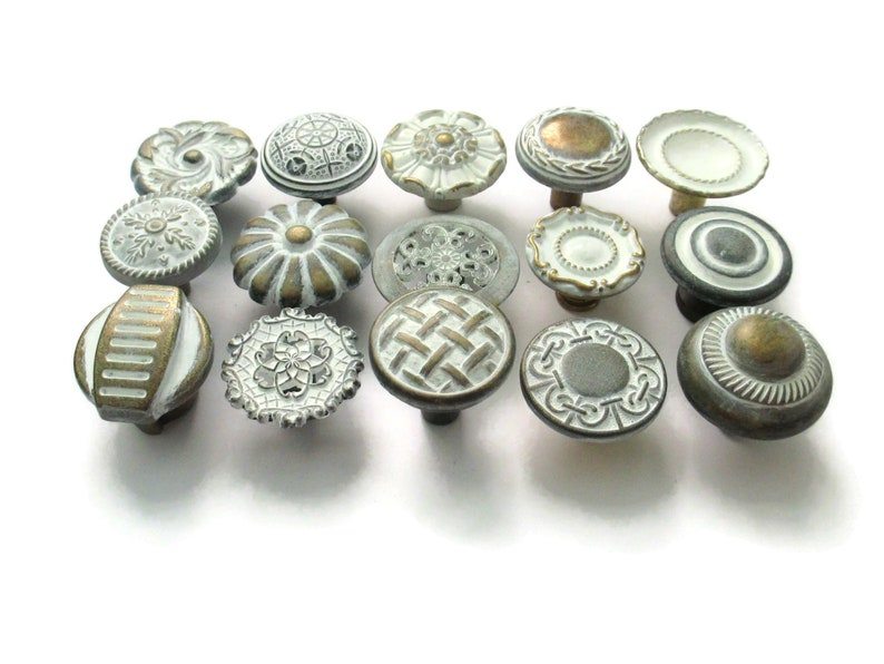 All different Distressed White Eclectic Collection CLEARANCE 15 vintage drawer knobs