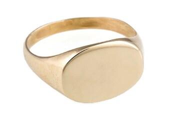 14k Yellow gold ring. signet gold ring. signet ring. unisex gold ring. men ring. men signet ring. men gold signet ring.