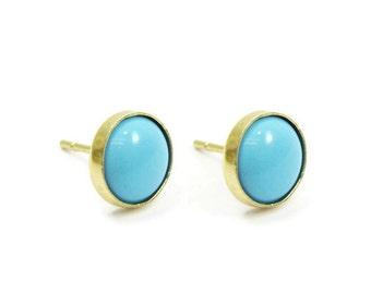 Gold stud earrings. 14k Gold earrings. 8mm Turquoise post earrings. Turquoise stud earrings. Birthday gift ideas. Turquoise jewelry