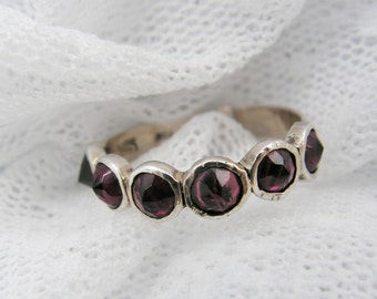 Garnet ring. Sterling silver ring. Natural Garnet spikes ring. Silver ring. Garnet silver ring. Silver garnet ring. gift for her