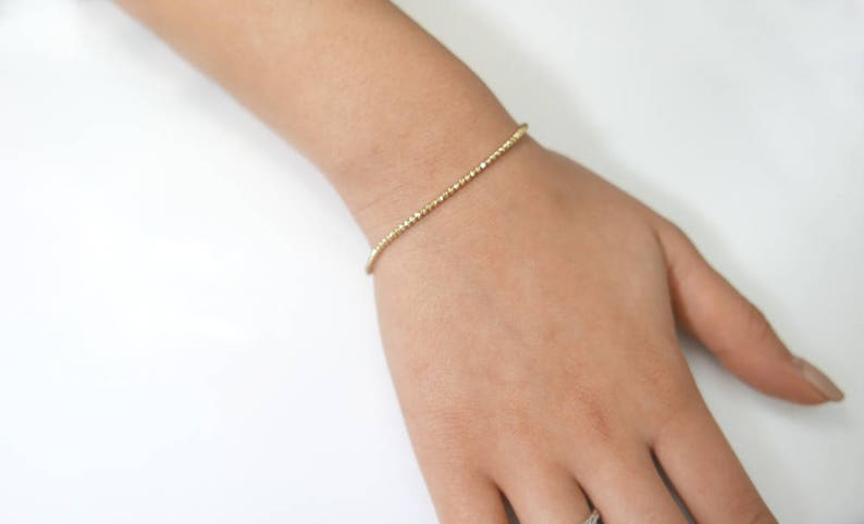 a059f5b638404 Tiny 14k Gold Bracelet. sparkly diamond cut beads bracelet. real Gold  bracelet, gold jewelry, gold beades, solid gold bracelet, 14k jewelry