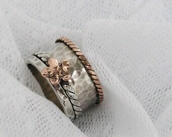 Sterling silver gold spinner ring. Rose gold spinner ring. Floral spinner ring. Wide spinner ring. Lazy ring. birthday gift ideas. wedding