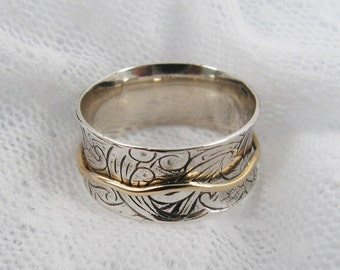 Spinner ring.worry rings. Meditation Ring. Sterling silver gold spinner ring. floral spinner ring. Wide spinner ring. (gsr-7066-653-959).