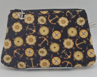 Sailor's Pouch, Nautical Cosmetics Clutch, Zip Pouch, Ditty Bag, Toiletry Kit, Cosmetics Case, Boating Gifts, Pencil Case, Wet Sack