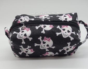 Skulls Pouch, Zip Pouch, Ditty Bag, Toiletry Kit, Cosmetics Case, Makeup Bag, Travel Case, Gifts for Her, Goth Gifts, Gifts for Friends