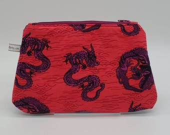 Dragon Bag, Red Cosmetic Clutch, Makeup Bag, Zip Pouch, Go Bag, Pencil Case, Wet Sack, Cosmetics Bag, Ditty Bag, Makeup Pouch
