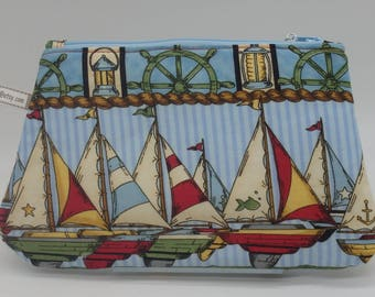 Sailboat Clutch, Sailing Pouch, Nautical Cosmetics Clutch, Zip Pouch, Ditty Bag, Cosmetics Case, Boating Gifts, Pencil Case, Wet Sack