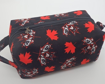 Canadian Travel Bag, Canada Maple Leaves Bag, Ditty Bag, Dopp Kit, Toiletry Bag, Makeup Bag, Go Bag, English Wet Sack, Zip Pouch