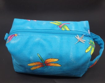 Dragonflies Pouch, Dragonfly Travel Bag, Ditty Bag, Dopp Kit, Toiletry Bag, Pencil Case, Wet Sack, Go Bag, Cosmetics Pouch,